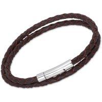 Damen Unique Edelstahl dunkel Braun Leder Armband