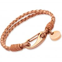 Ladies Unique PVD rose plating Natural Leather Bracelet B64NA/19CM