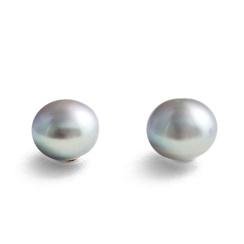 Ladies Jersey Pearl Sterling Silver Large Silver Pearl Stud Earrings E10S