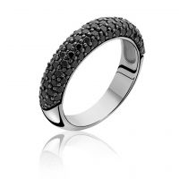 Zinzi Dames Black CZ Ring Size O Sterling Zilver ZIR633