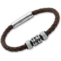Biżuteria uniwersalne Unique & Co Dark Brown Leather Bracelet B91DB/21CM