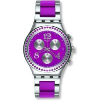 Damen Swatch Secret Thought Raspberry Chronograph Watch YCS555G