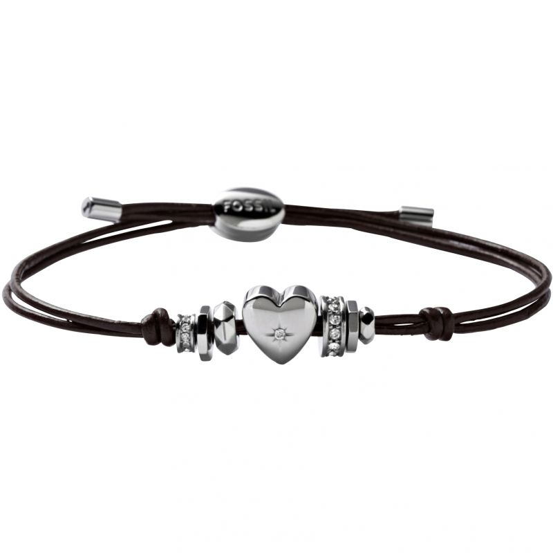 Ladies Fossil Stainless Steel Leather Bracelet - CZ JF00116040