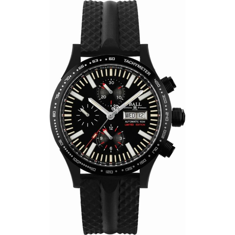 homme Ball Fireman Storm Chaser DLC Glow Limited Edition Chronograph Watch CM2192C-P2-BK