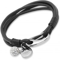 Damen Unique Edelstahl Schwarz Leder Armband 19cm