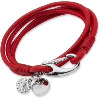 Ladies Unique Stainless Steel Red Leather Bracelet 19cm B152RE/19CM