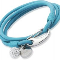 Ladies Unique & Co Stainless Steel Turquoise Leather Bracelet 19cm