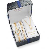 Damen Sekonda Classique Halskette Armband Geschenk-Set Diamant Uhr