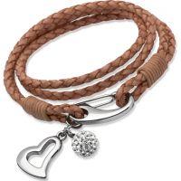Damen Unique Edelstahl natürlich Leder Armband