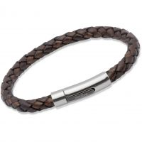 Ladies Unique & Co Stainless Steel Antique Dark Brown Leather Bracelet