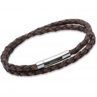 Unique Unisex Antique Dark Brown Leather Bracelet Roestvrijstaal B171ADB/21CM