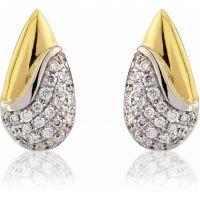 Weiß und Gelb Gold Diamant Teardrop Ohrringe