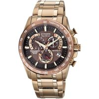 Herren Citizen Chrono Perpetual A-T Alarm Chronograph Radio Controlled Eco-Drive Watch AT4106-52X