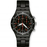 homme Swatch Black Coat Chronograph Watch YCB4019AG