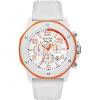 homme Bulova Marine Star Duramic White Chronograph Watch 98B199