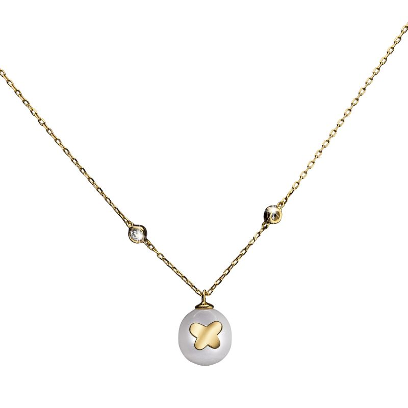 Ladies Shimla PVD Gold plated Necklace With Butterfly Fresh Water Pearl SH628