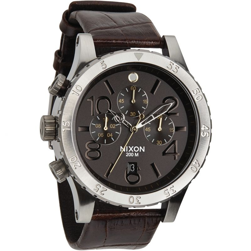 Mens Nixon The 48-20 Chrono Leather Chronograph Watch A363-1887