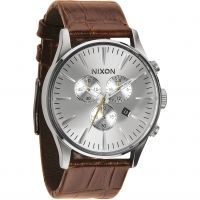 homme Nixon The Sentry Chrono Leather Chronograph Watch A405-1888