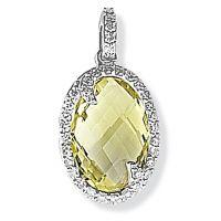 White Gold Diamond and Quartz Pendant
