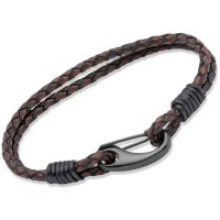 Unique Herr Antique Brown Leather Bracelet 23cm Svart jonpläterat stål B86ADB/23CM