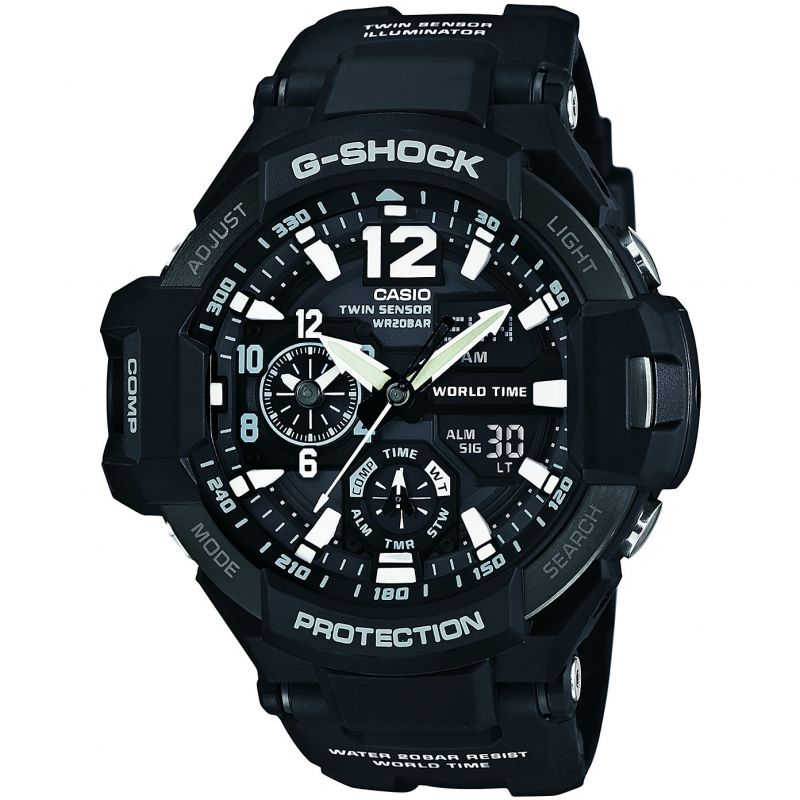 homme Casio G-Shock Gravitymaster Compass Thermometer Alarm Chronograph Watch GA-1100-1AER