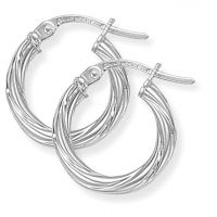 White Gold Twisted Hoop Earrings