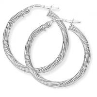 Jewellery White Gold Twisted Hoop Earrings Watch ER818