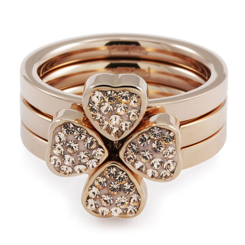 Folli Follie Dames Hrt 4 Hrt Ring PVD verguld Rose 5045.3305