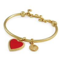 Ladies Juicy Couture PVD Gold plated Enamel Heart Slider Bangle