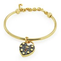 femme Juicy Couture Jewellery Pave Heart Padlock Slider Bangle Watch WJW516-710