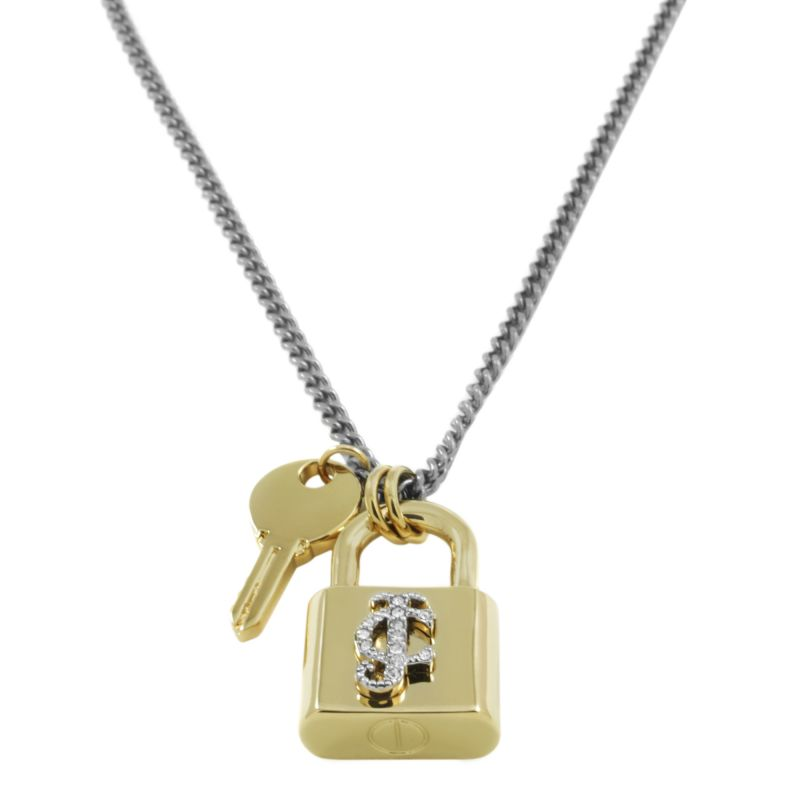 Ladies Juicy Couture PVD Gold plated Padlock And Key Pendant Necklace WJW540-040