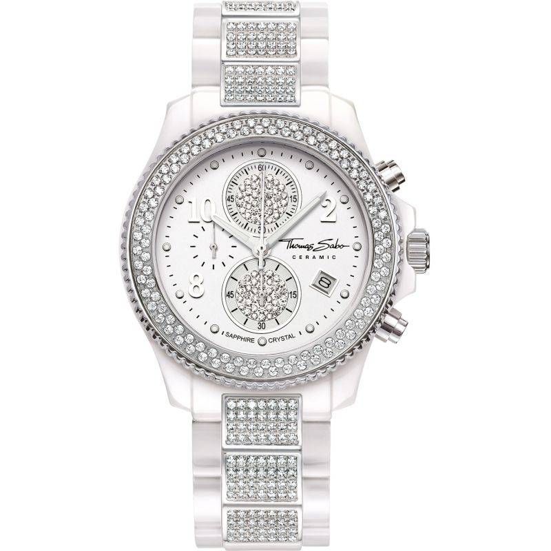 Ladies Thomas Sabo Glam Ceramic Chronograph Watch WA0182-247-202-40MM