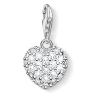 Ladies Thomas Sabo Sterling Silver Charm Club Glitter Heart Charm