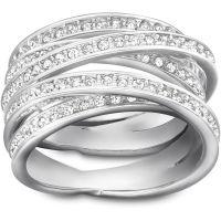 Damen Swarovski Edelstahl Größe Q gewunden Ring 58