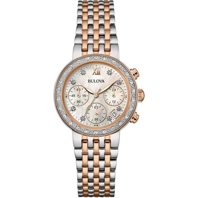 Ladies Bulova Diamond Gallery Chronograph Watch 98W215