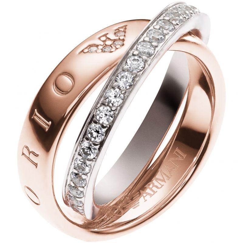 Ladies Emporio Armani Sterling Silver Size K Pure Eagle Circles Ring EG3123221503