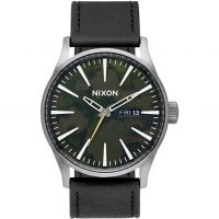 Nixon The Sentry Leather Herenhorloge Zwart A105-2069