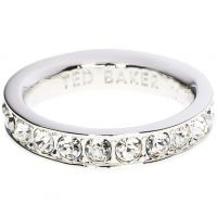 Damen Ted Baker Silber Plated Claudie Narrow Kristall Band Ring Kl