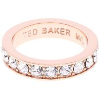 Damen Ted Baker Rose vergoldet Claudie Narrow Kristall Band Ring Kl