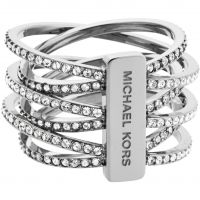 Ladies Michael Kors PVD Silver Plated Size P Statement Crossover Ring MKJ4423040508