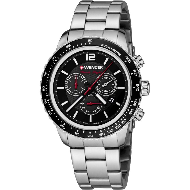 Mens Wenger Roadster black night Chronograph Watch 10853107