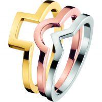 Damen Calvin Klein zweifarbig Stahl/vergoldet Größe O Wonder Ring