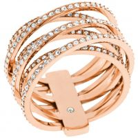 Ladies Michael Kors PVD rose plating Size O Statement Crossover Ring Size O MKJ4424791506