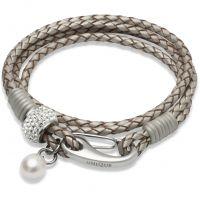Ladies Unique Stainless Steel Leather Bracelet B221PE/19CM