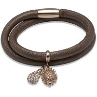 Ladies Unique PVD rose plating Leather Bracelet B236BR/19CM