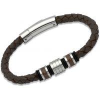 Herren Unique Edelstahl Leder Armband