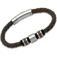 Mens Unique & Co Stainless Steel Leather Bracelet