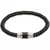 Mens Unique Stainless Steel Leather Bracelet B241BL/21CM