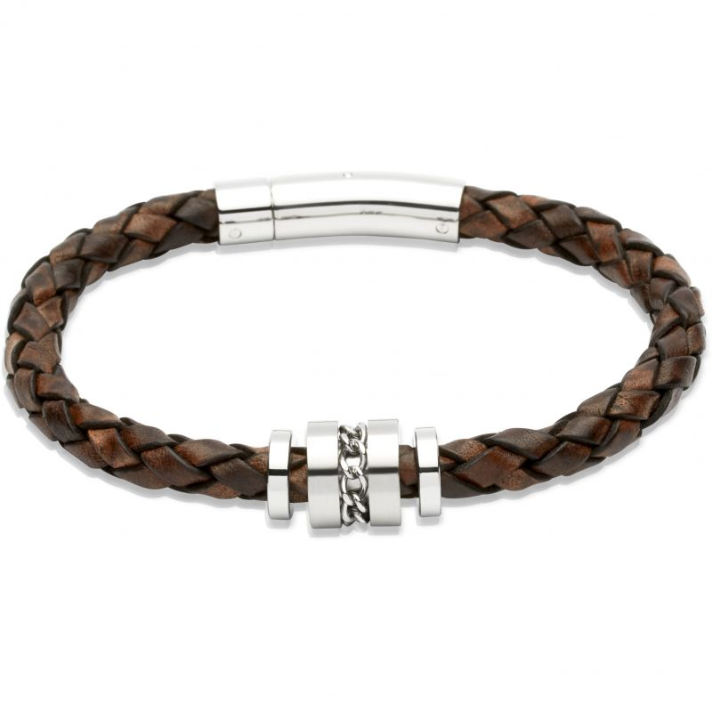 Mens Unique & Co Stainless Steel Leather Bracelet B250ADB/21CM
