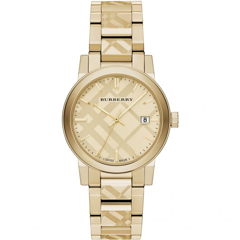 Mens Burberry The City Engraved Check Watch BU9038